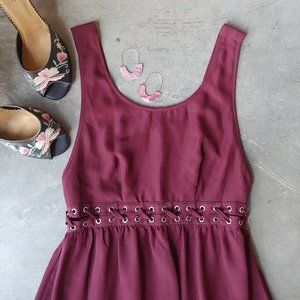 Forever 21 Burgundy Lace-Up Cut-Out Maxi Dress S